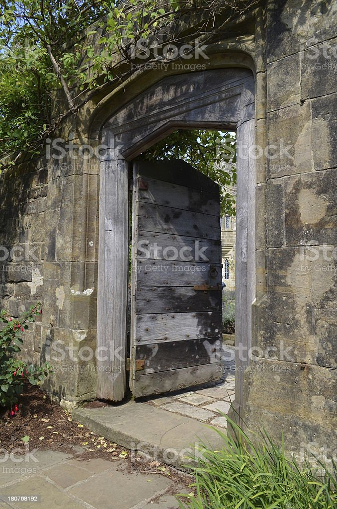 Ancient solid wood door royalty-free stock photo