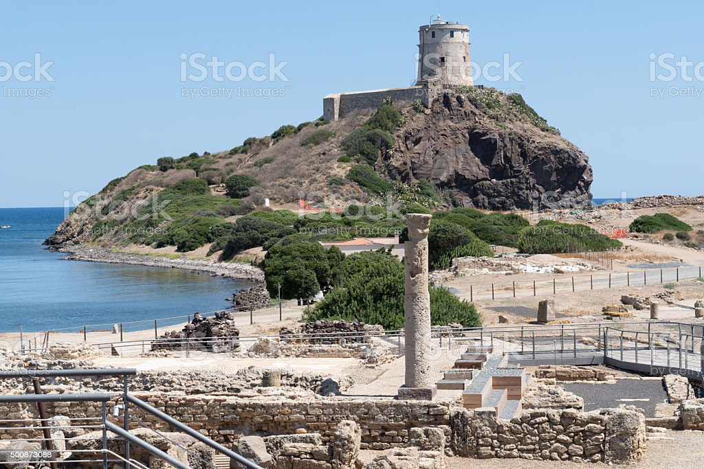 Ancient spanish tower of Coltellazzo, Nora, Pula, Sardinia, Italy stock photo