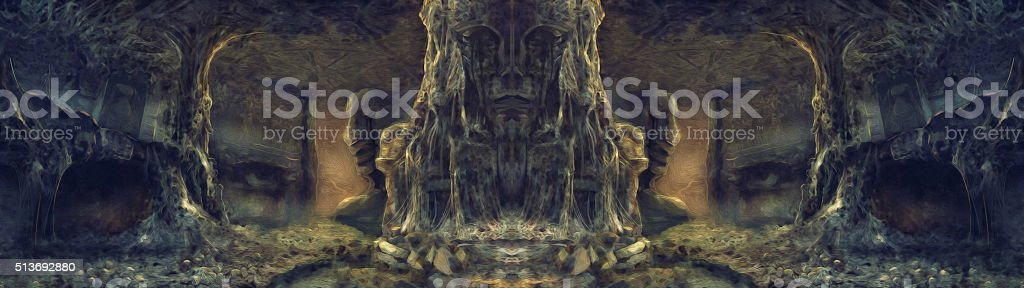 ancient spider den illustration painting stock photo
