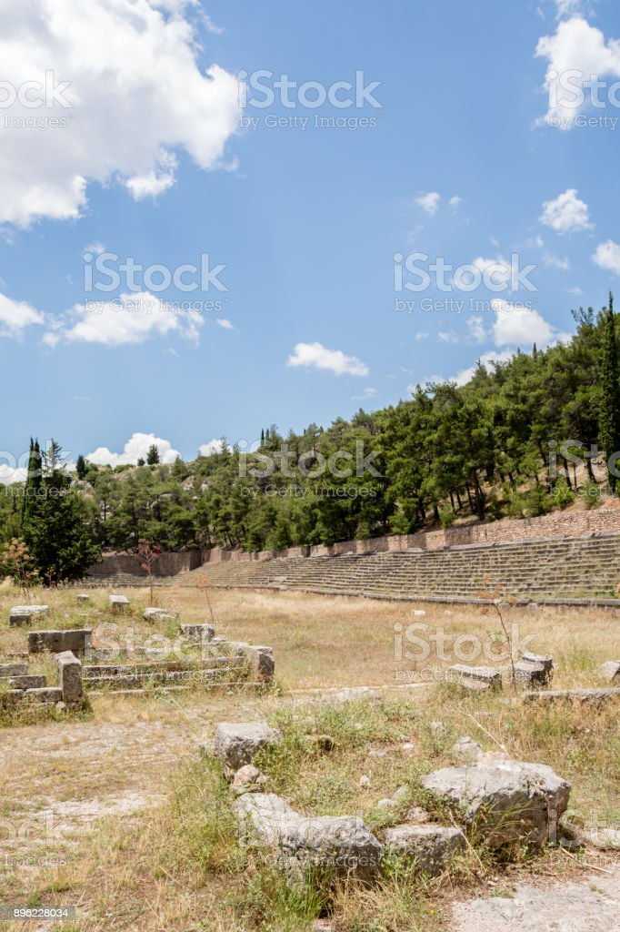 Ancient stadium at Delfi , Greece stock photo