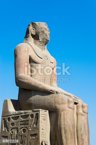 Ancient statue. Cairo Museum of Egyptology and Antiquities. Exhibits in front of the museum