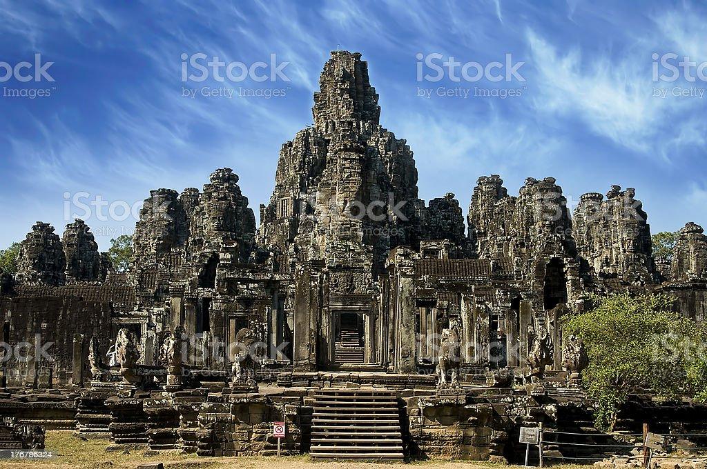 Ancient statue in Angkor Wat, Cambodia royalty-free stock photo