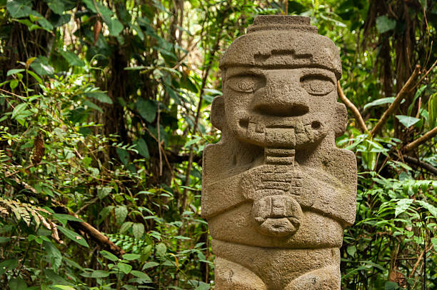 Ancient Statue Playing the Flute stock photo