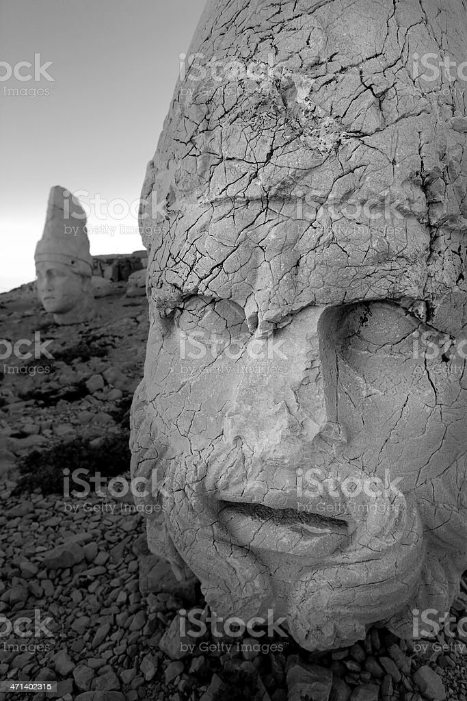Ancient statues at Mount Nemrut royalty-free stock photo