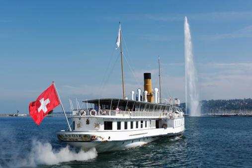 Ancient steam boat on lake Geneva, Switzerland
