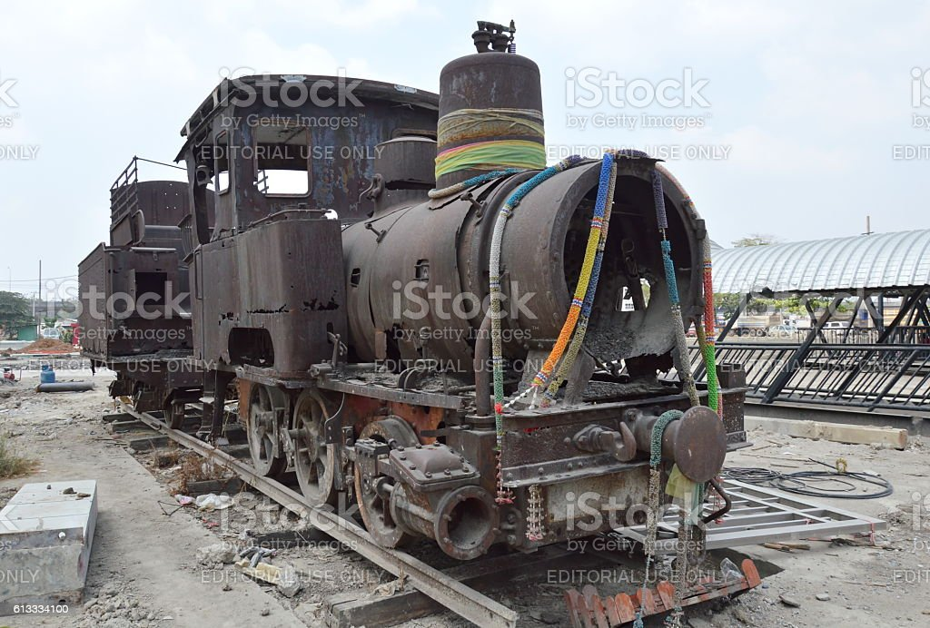 ancient steam locomotive parking for worship and memorial stock photo