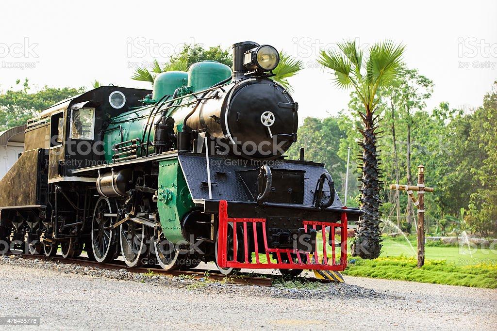 Ancient steam locomotive stock photo