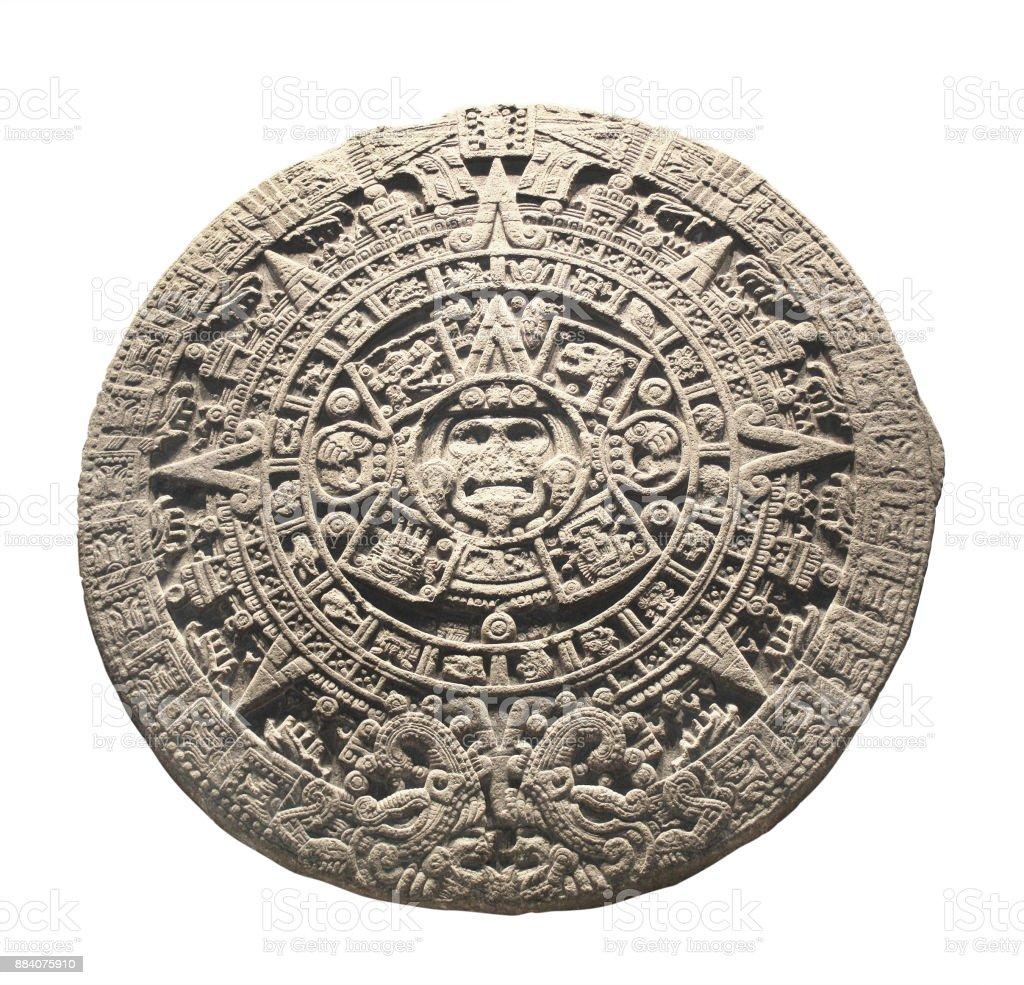 Ancient stone aztec calendar stock photo