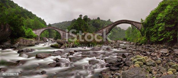 The arched stone bridge near Şimşirli Village in Çamlıhemşin, Rize, connects the banks of the Fırtına (Storm) Stream.