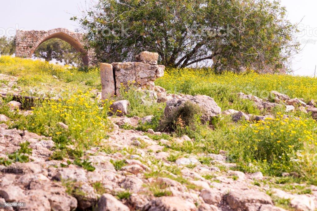 Edifício de pedra antiga ruínas Parque Arqueológico local. - Foto de stock de Arcaico royalty-free