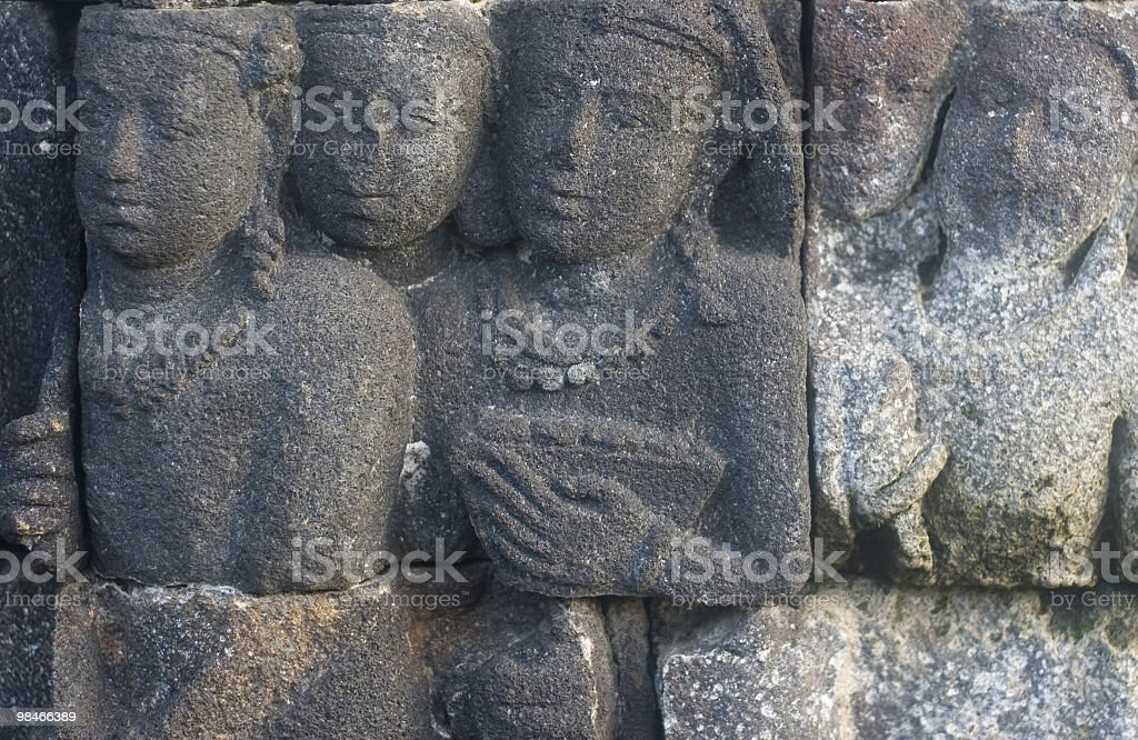 Ancient stone carving at Borobodur temple, Yogyakarta royalty-free stock photo