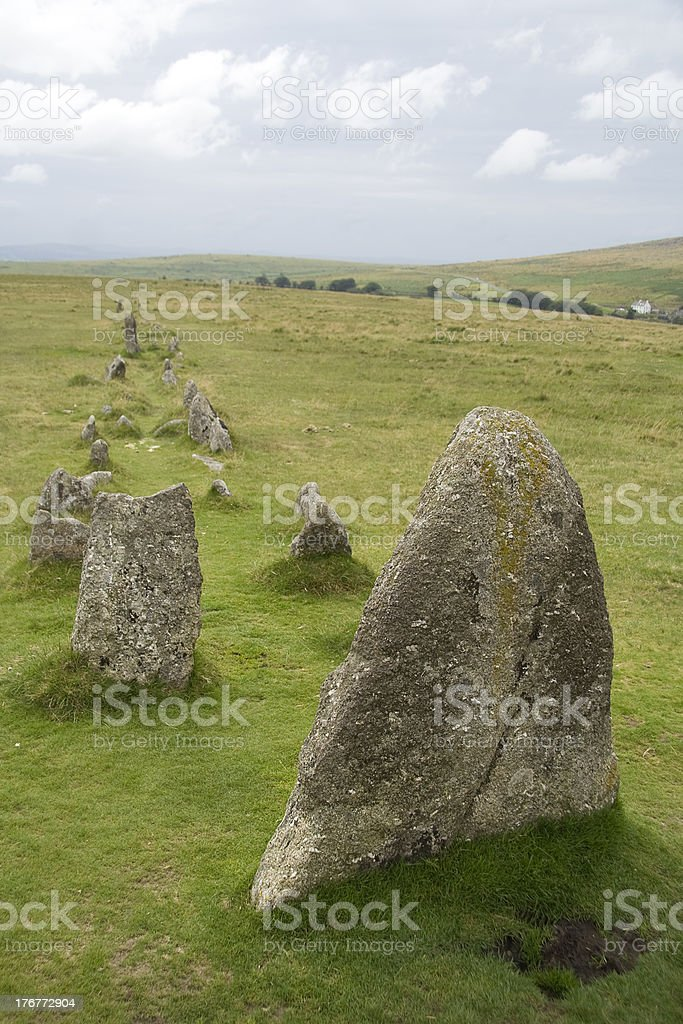 Ancient stone formation on Dartmoor royalty-free stock photo