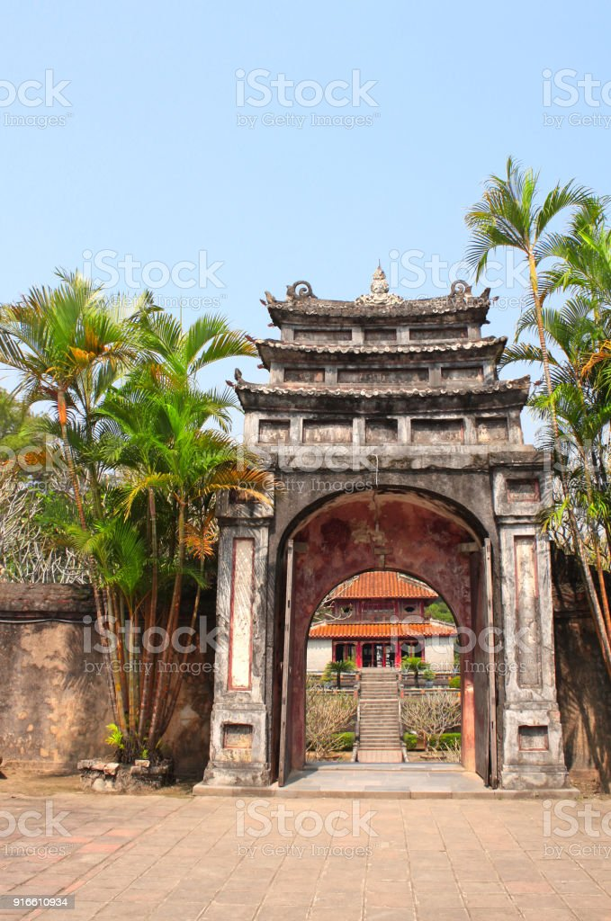 Ancient stone gate in Minh Mang Tomb, Hue, Vietnam stock photo
