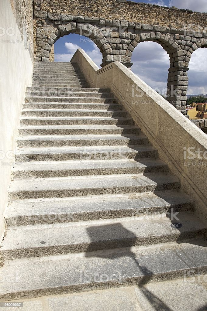 ancient stone stairs to aqueduct royalty-free stock photo