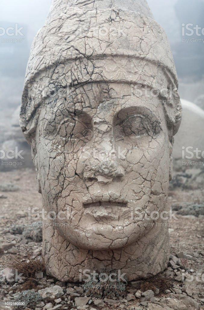 Ancient stone statue on the Nemrut mount, Anatolia, Turkey stock photo