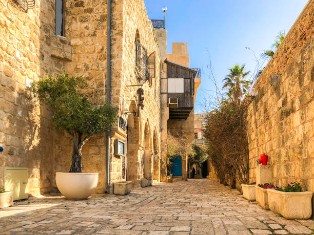 YAFFO, ISRAEL - JANUARY 21, 2019 - Ancient stone streets in Artists Quarter of Old Jaffa, Israel stock photo