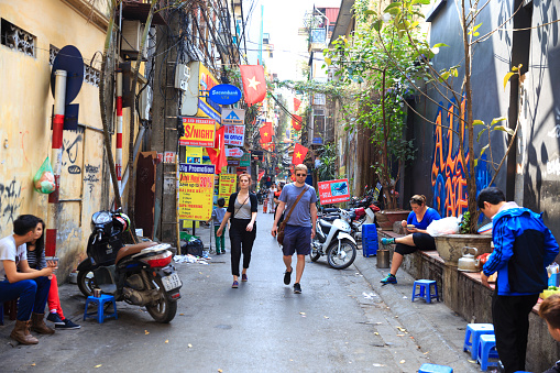 ancient street in Hanoi, Vietnam