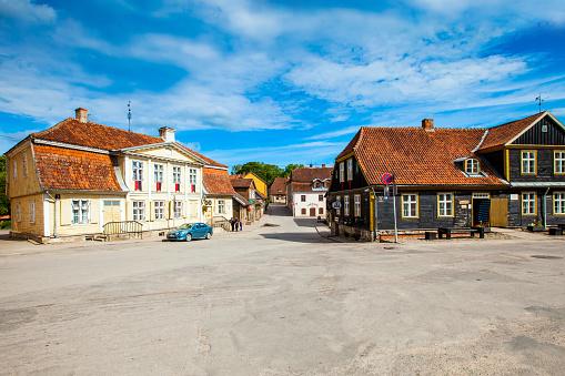 Ancient street in old town of Kuldiga, Latvia
