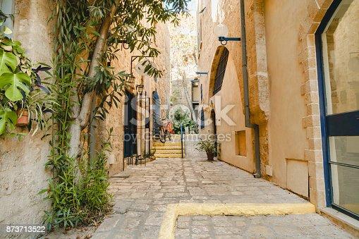 Ancient street in Tel-Aviv Jaffo. Jaffa old urban architecture. Israel exterior