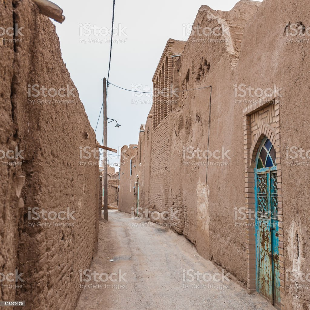 Ancient street in the city of Meybod,Iran stock photo
