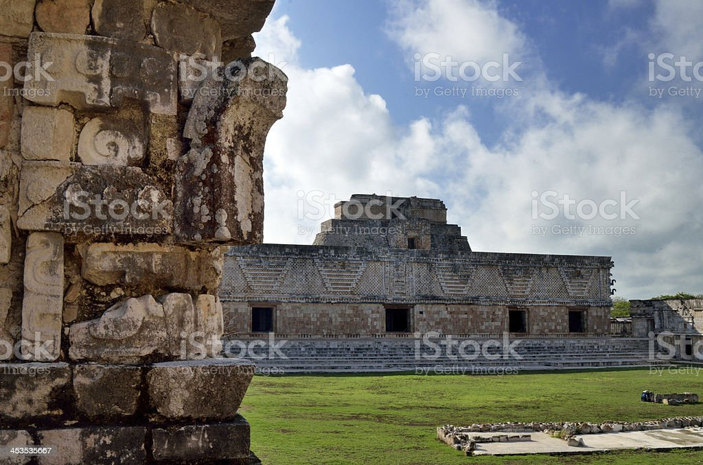Ancient structure  one squares in the city of Uxmal royalty-free stock photo