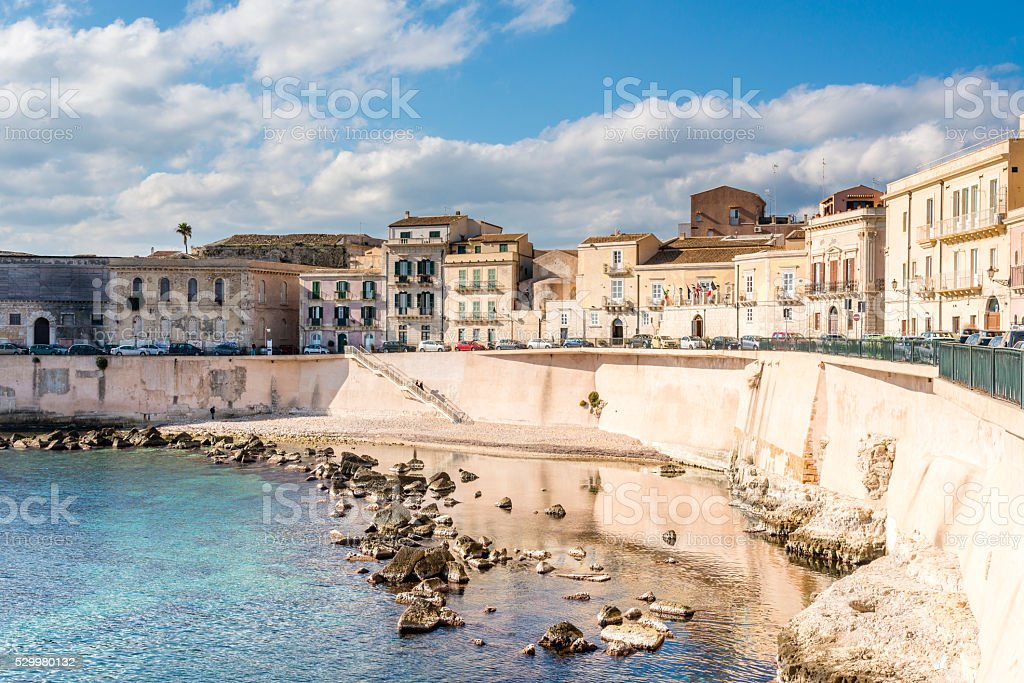 Ancient structures on the Ortigia island, Syracuse, Sicily. Italy. stock photo