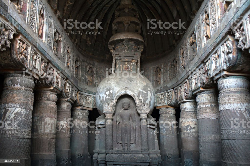 Ancient stupa in Ajanta caves, India stock photo