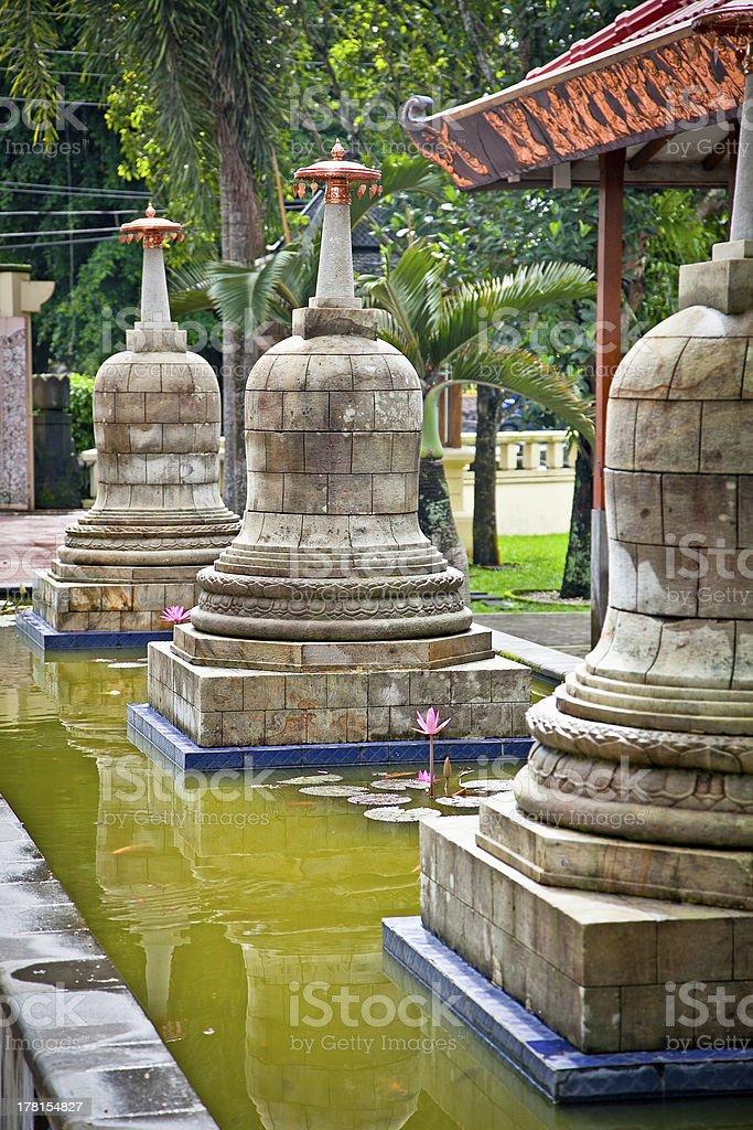 Ancient stupas in Prambanan temples complex , Yogyakarta , on Ja royalty-free stock photo