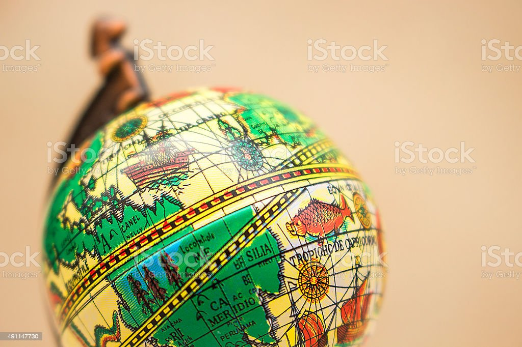 Ancient style small globe stock photo