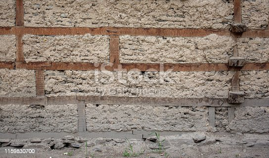 Ancient style wall , Dry mud and dirt wall with wood , composite wall and window