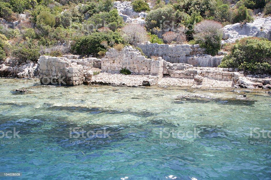 Ancient submerged city in Kekova stok fotoğrafı