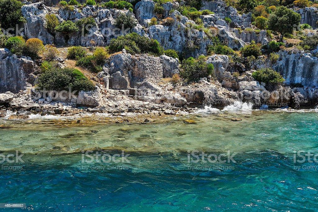 Ancient submerged city in Kekova stock photo