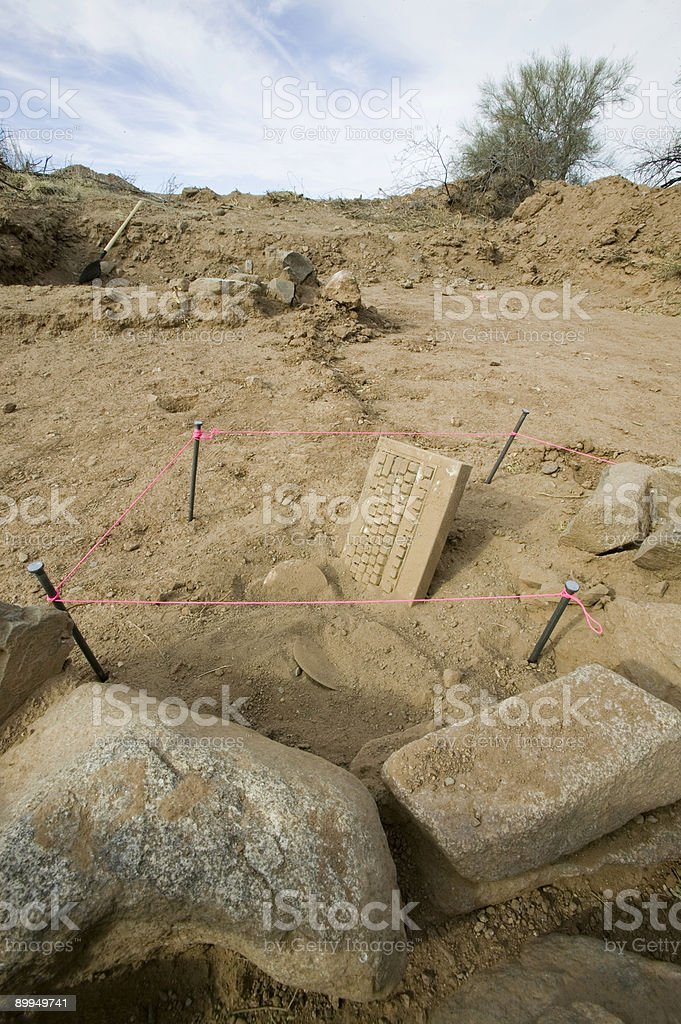 Ancient tablet discovered in desert royalty-free stock photo