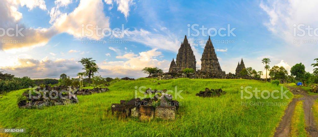 Ancient temple complex Prambanan, island of Java, Indonesia stock photo