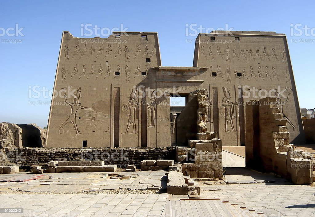 Ancient temple Edfu in Egypt stock photo