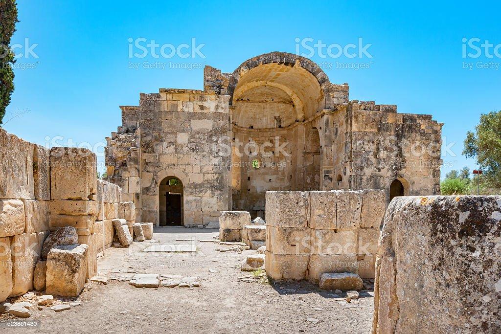 Ancient temple. Gortyna, Crete, Greece stock photo