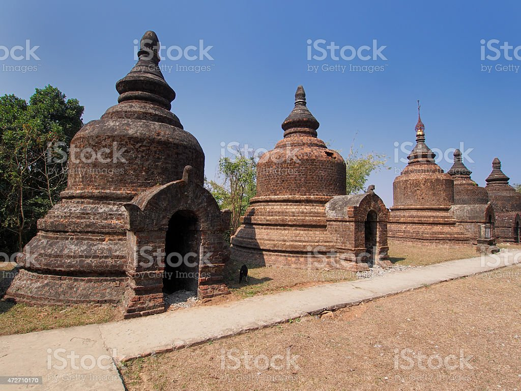 Ancient temple in Mrauk u, Burma stock photo
