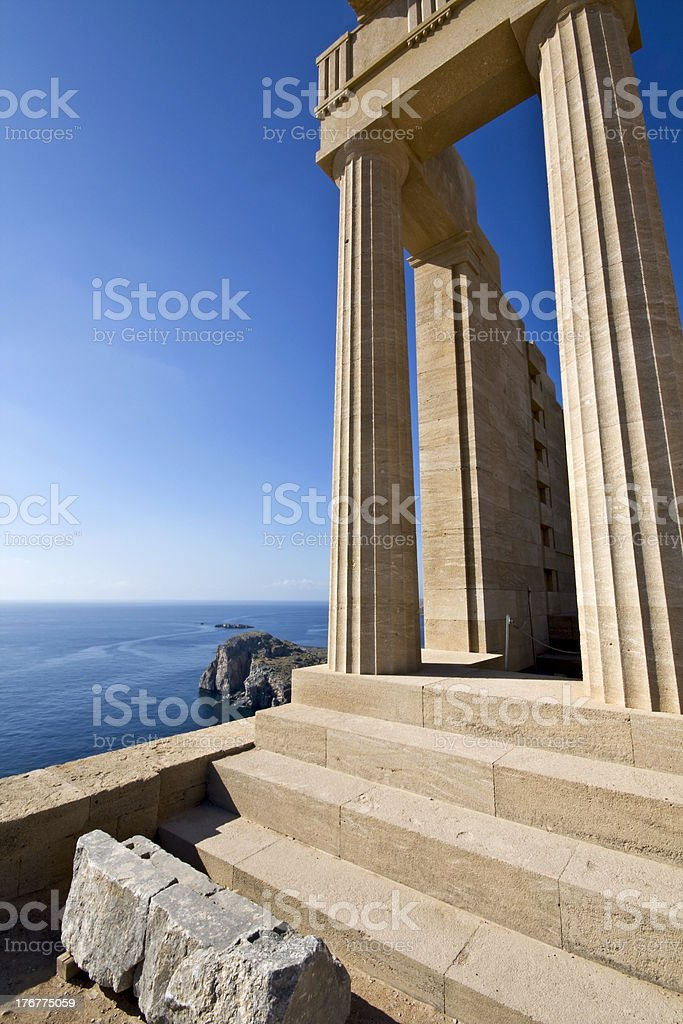 Ancient temple of Apollo at Lindos, Rhodes island royalty-free stock photo