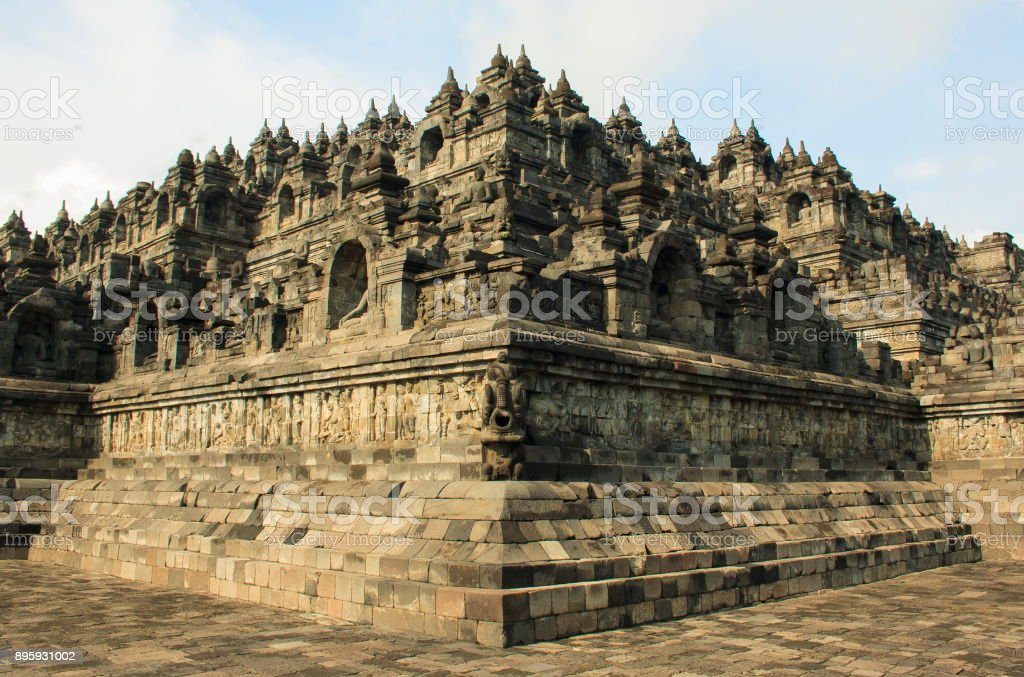 Ancient Temple of Borobudur. The island of Java. Yogyakarta. Indonesia. stock photo