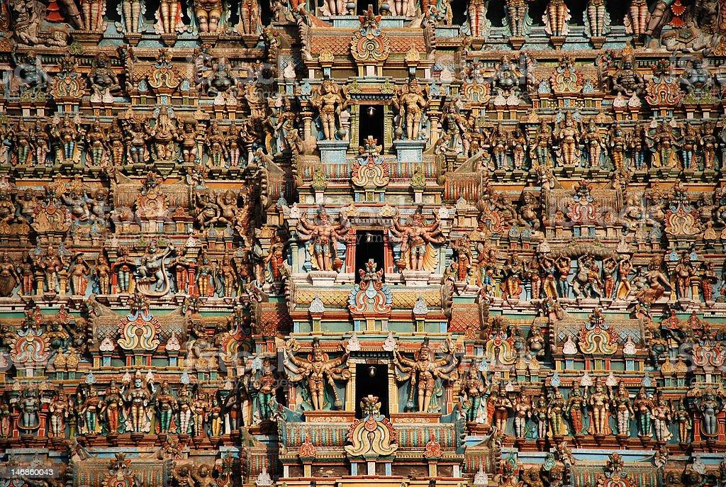 Ancient temple tower of Meenakshi-Sundareswarar stock photo