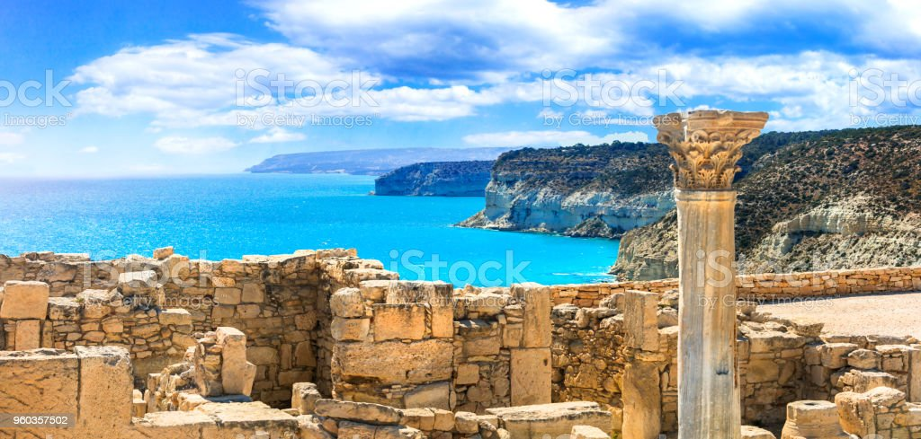 Ancient temples and turquoise sea of Cyprus island stock photo