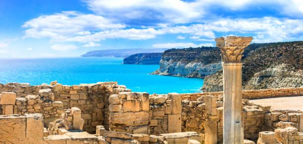 ancient temples and turquoise sea of cyprus island - cyprus стоковые фото и изображения