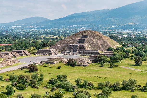 Ancient Teotihuacan pyramids and ruins in Mexico City stock photo