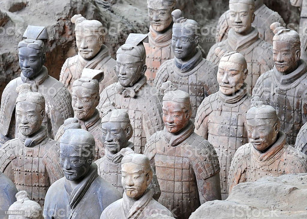 Ancient terracotta army figures in Xian - China stock photo