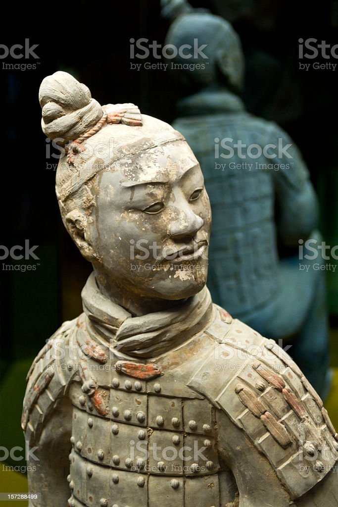 Ancient terracotta sculpture of a Chinese soldier royalty-free stock photo