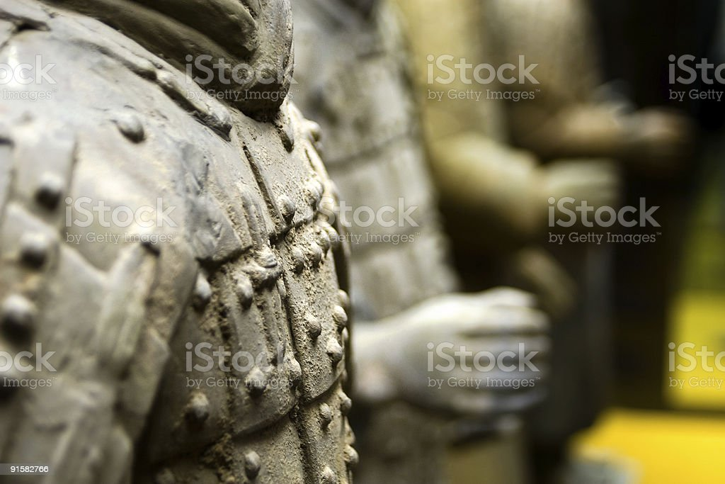 Ancient terracotta sculptures of Chinese soldiers royalty-free stock photo