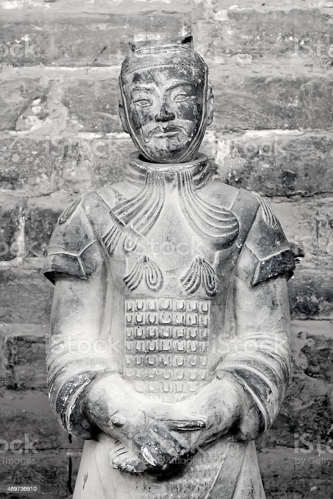 Ancient Terracotta Warrior statue in China stock photo