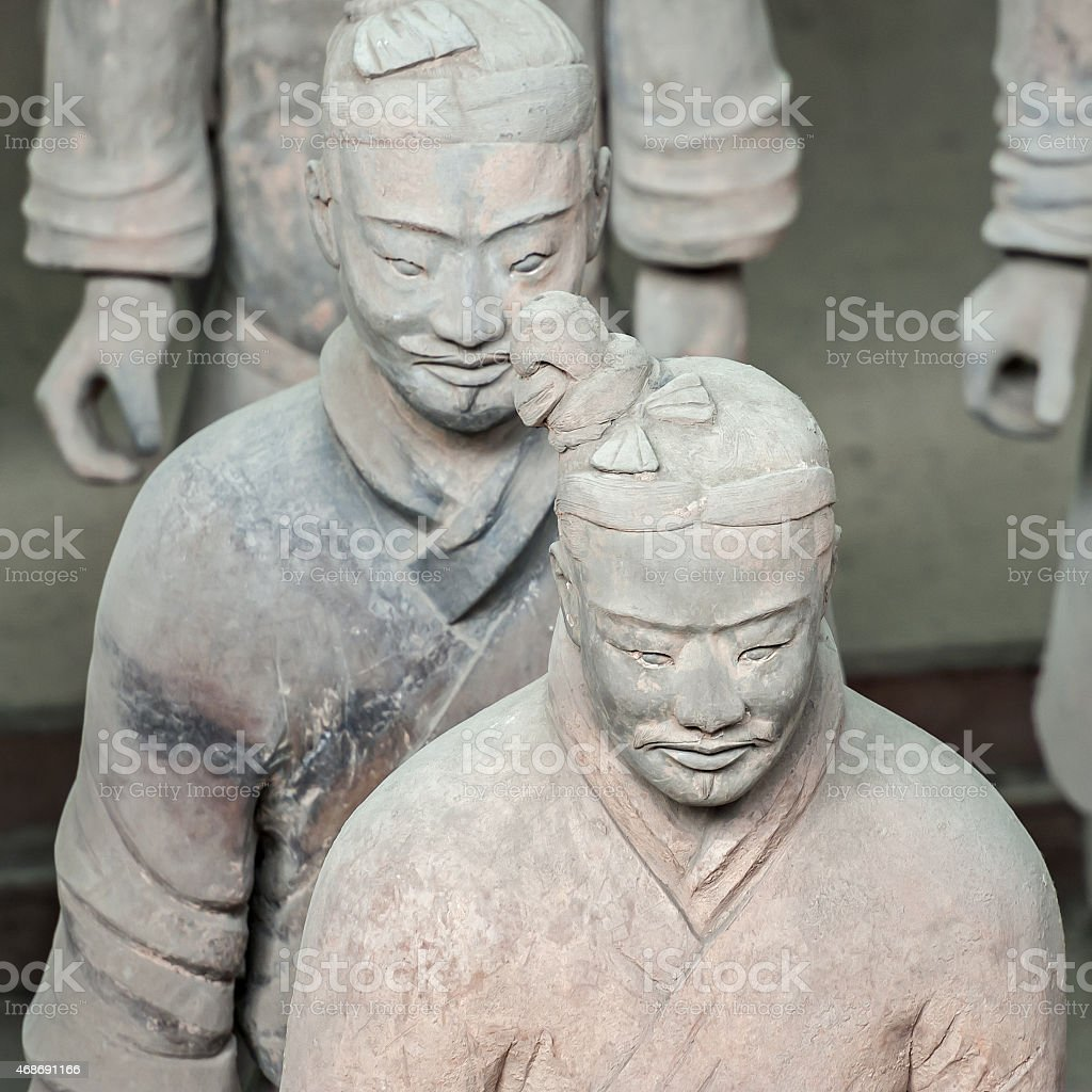 Ancient Terracotta Warrior statues in China stock photo