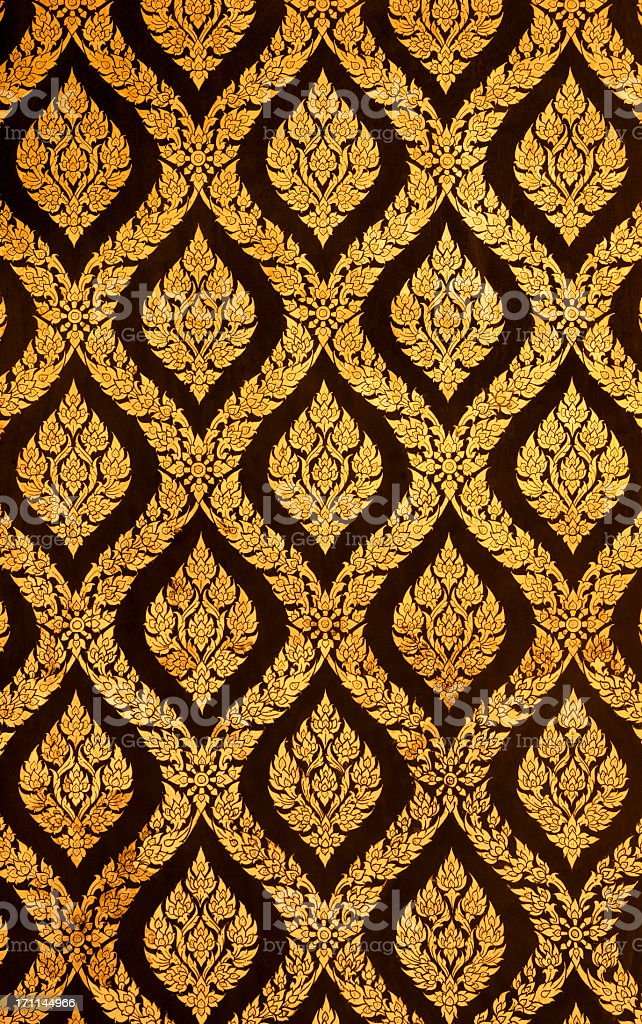 Ancient Thai Buddhist temple mural background. royalty-free stock photo