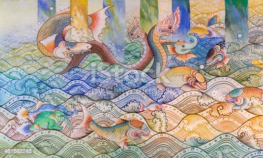 istock Ancient Thai mural painting 481562243